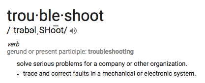 Troubleshooting Definition