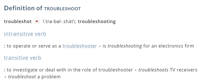 Troubleshoot Definition 2